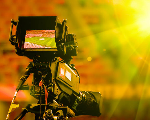 LCD display screen on a High Definition TV camera stock photo