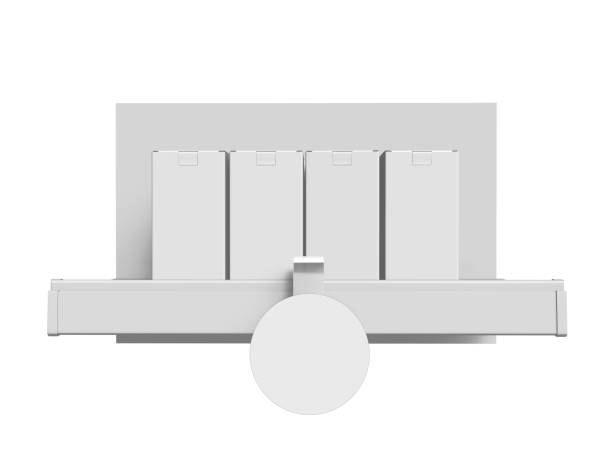 Display Shelf With Circle Wobbler stock photo