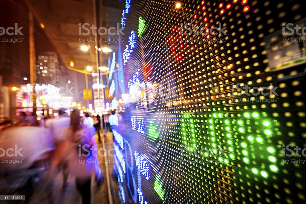 display stock market charts in a street royalty-free stock photo