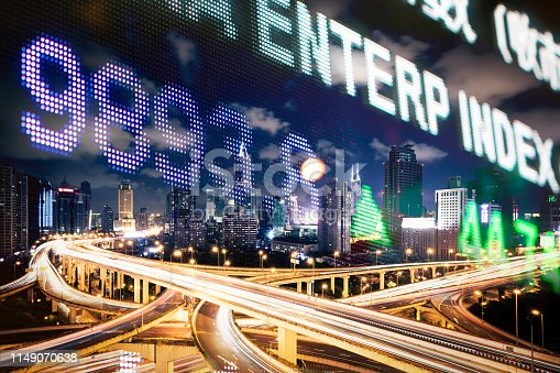istock Display stock market numbers and city 1149070638