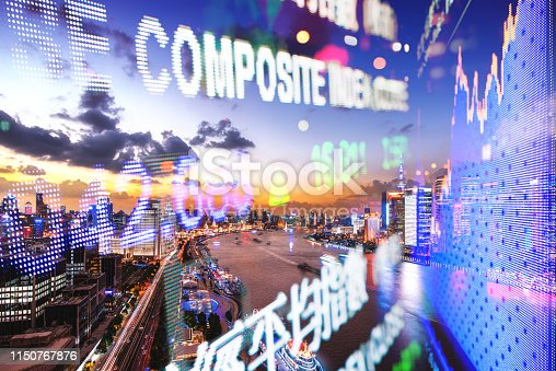 istock Display stock market numbers and city 1150767876
