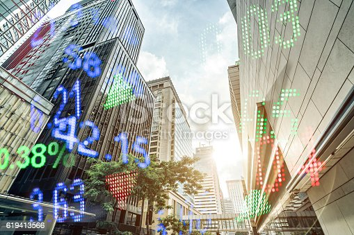 istock Display stock market numbers and hongkong background 619413566