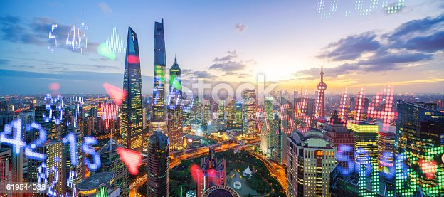 istock Display stock market numbers and shanghai background 619544038