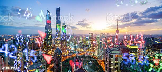 Photo of Display stock market numbers and shanghai background