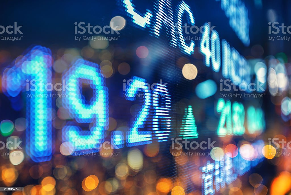 display stock market numbers, double exposure stock photo