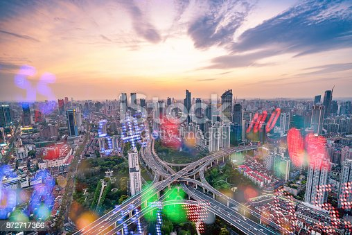 istock Display stock numbers and shanghai skyline background 872717366