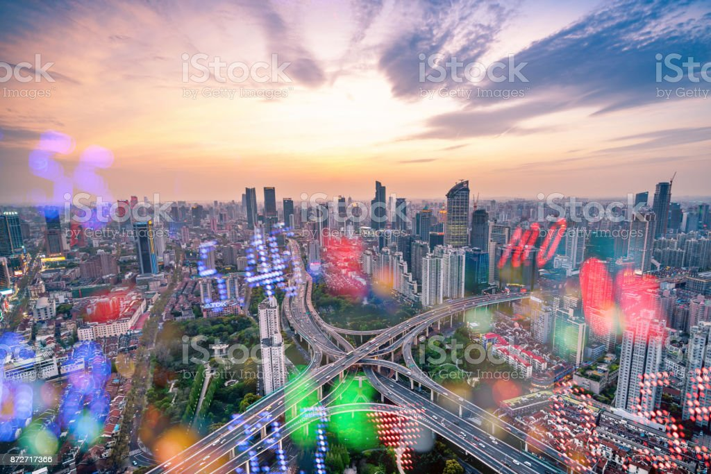 Display stock numbers and shanghai skyline background stock photo