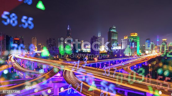 istock Display stock numbers and shanghai skyline background 872717396