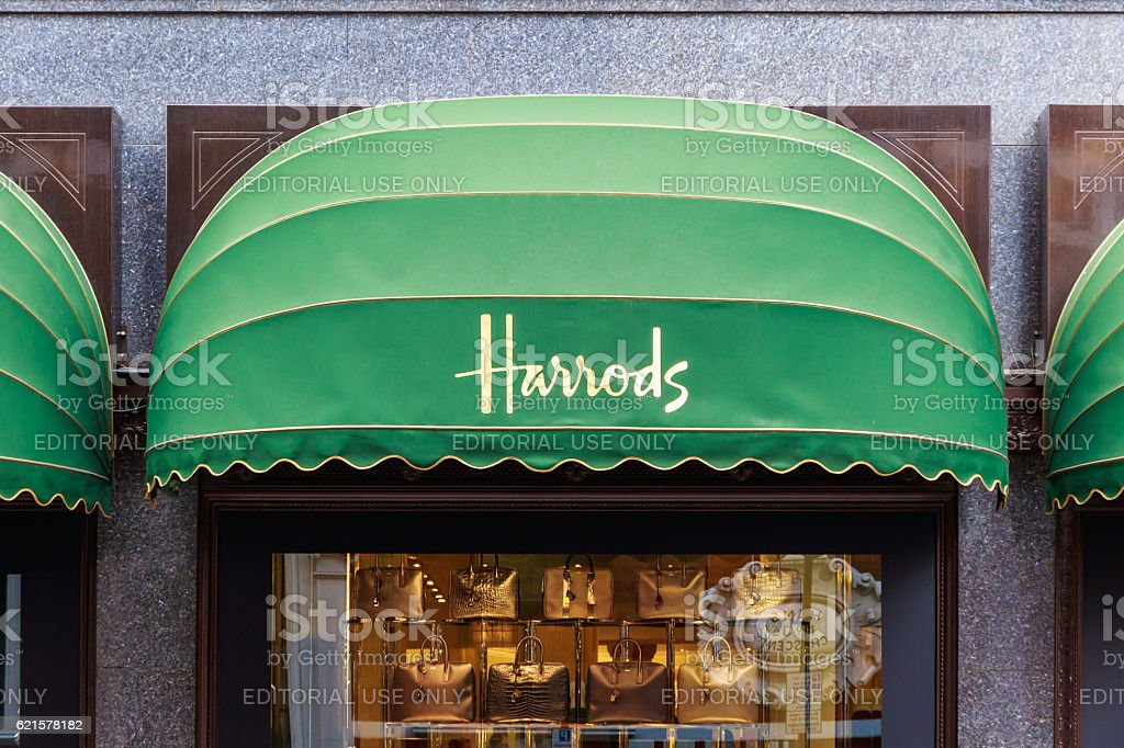 Display Windows of Harrods in London stock photo