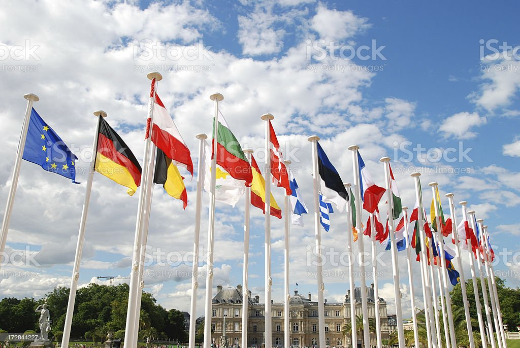 Displays of au country flags standing on white poles stock photo