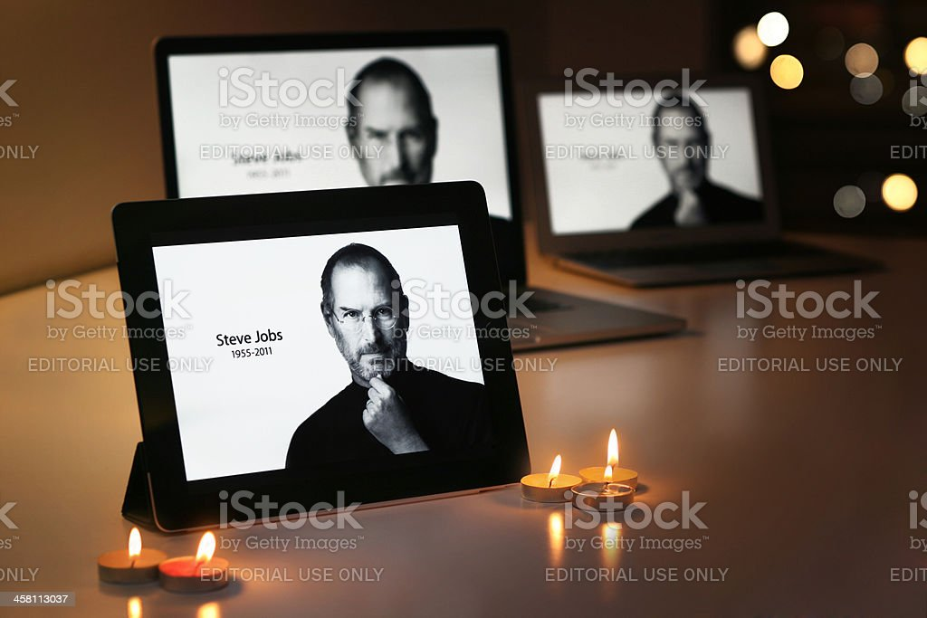 STEVE JOBS displays on Apple products stock photo
