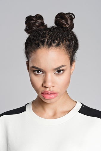 Displeased Afro American Teenager Girl Stock Photo - Download Image Now