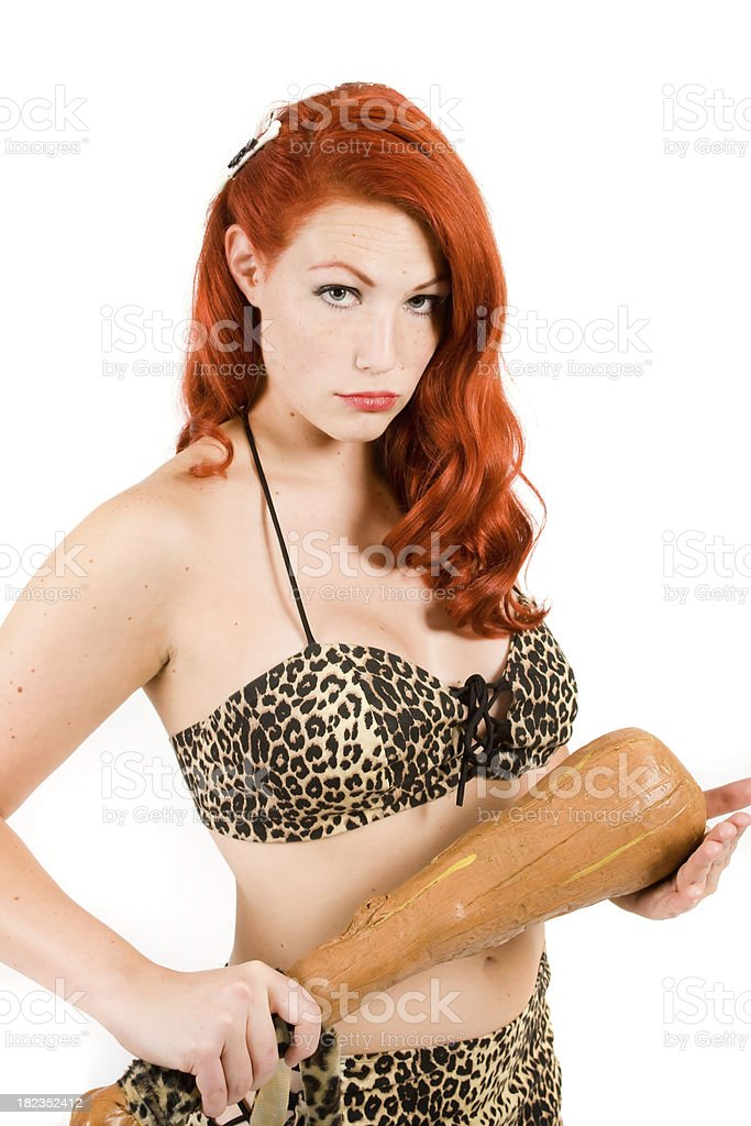 Displeased Cave Woman stock photo
