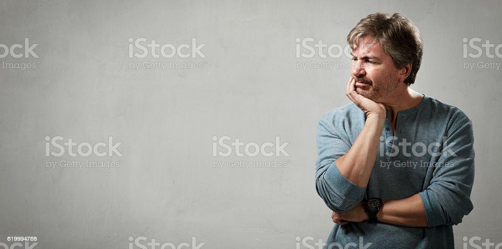 displeased man portrait. – Foto