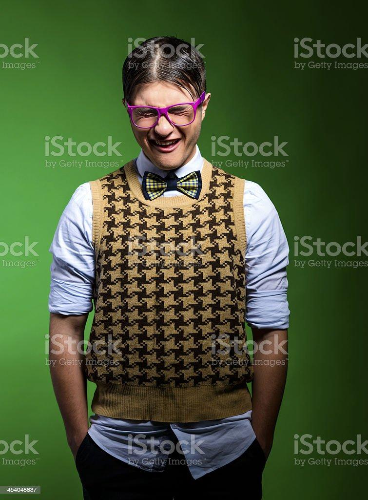 displeased nerd stock photo