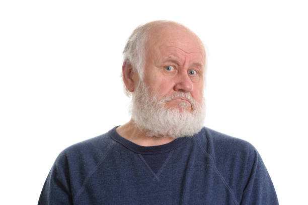 displeased old man, isolated on withe portrait of old white haired displeased man, isolated on withe one senior man only stock pictures, royalty-free photos & images