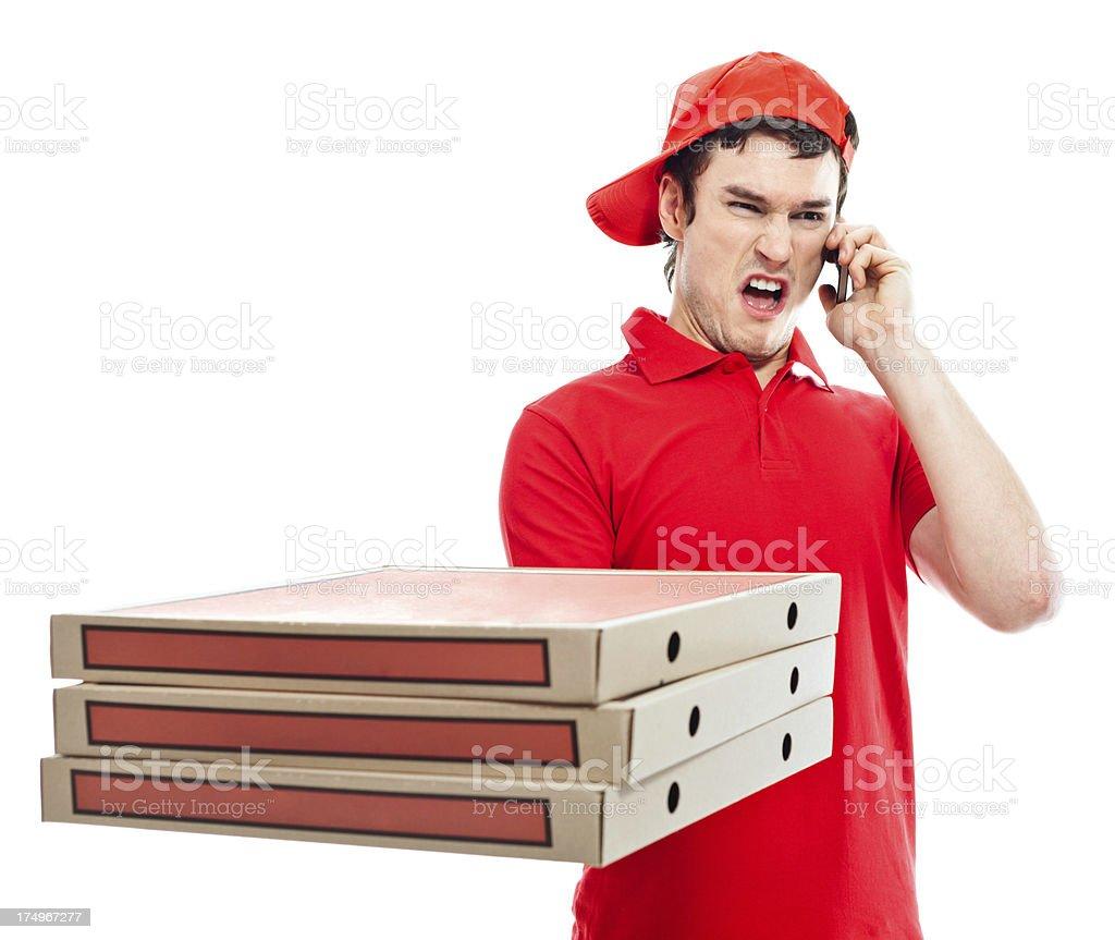 Displeased pizza boy royalty-free stock photo