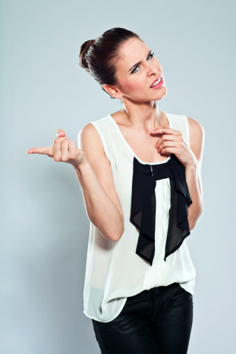 Displeased Woman Pointing Stock Photo - Download Image Now