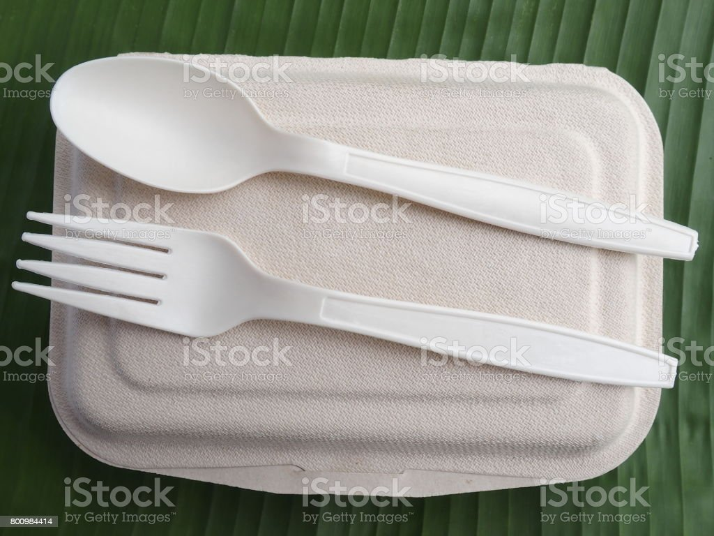 disposable bioplastic spoon fork lunch box stock photo