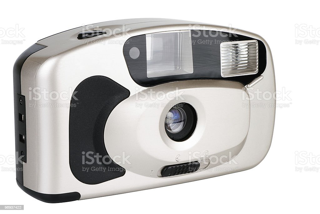 Disposable camera on white stock photo