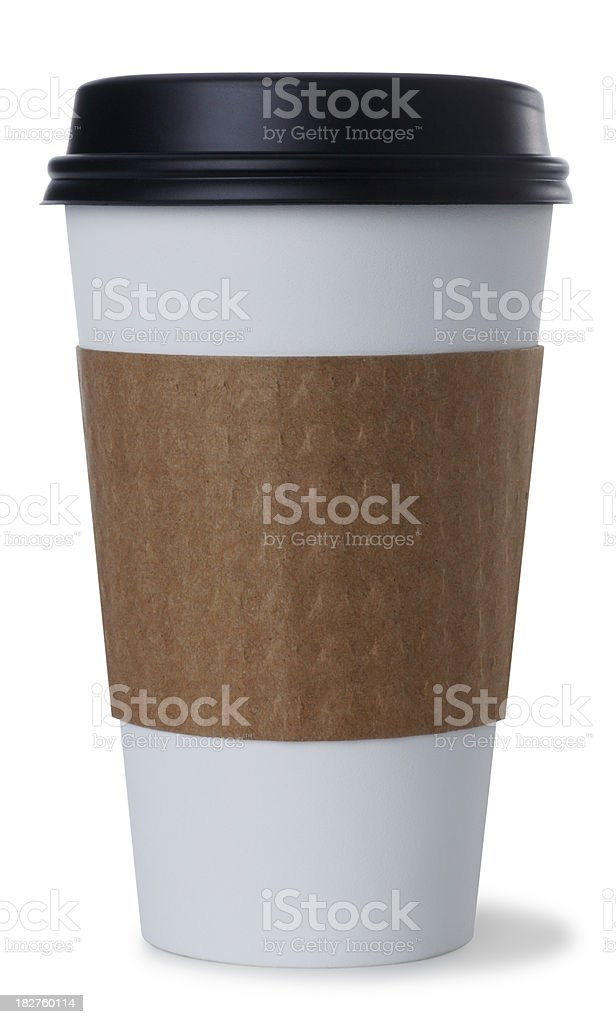 Disposable Coffee Cup on White stock photo