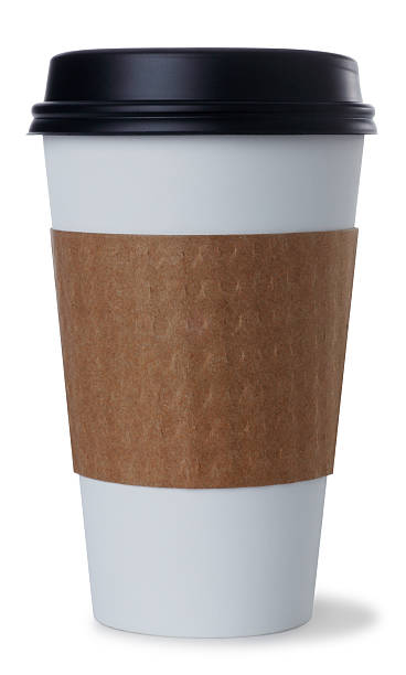 disposable coffee cup on white - paper coffee cup stock photos and pictures