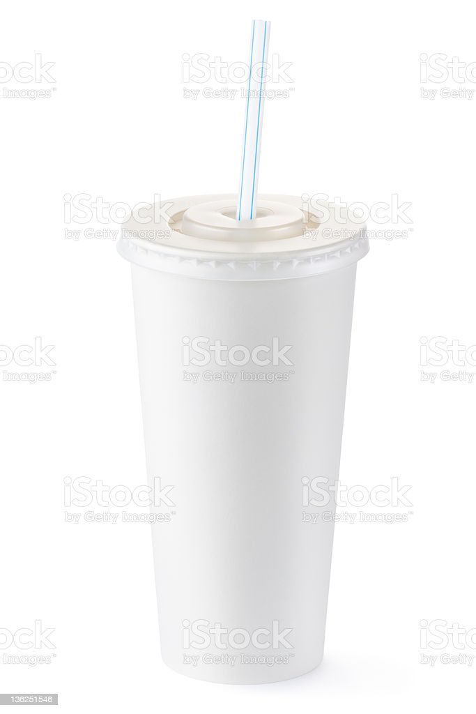 Disposable cup of big volume for beverages with straw royalty-free stock photo