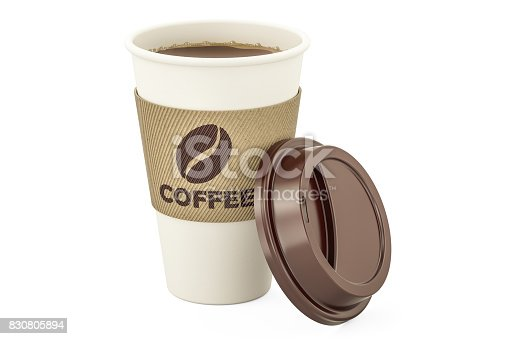 istock Disposable cup of coffee, 3D rendering isolated on white background 830805894