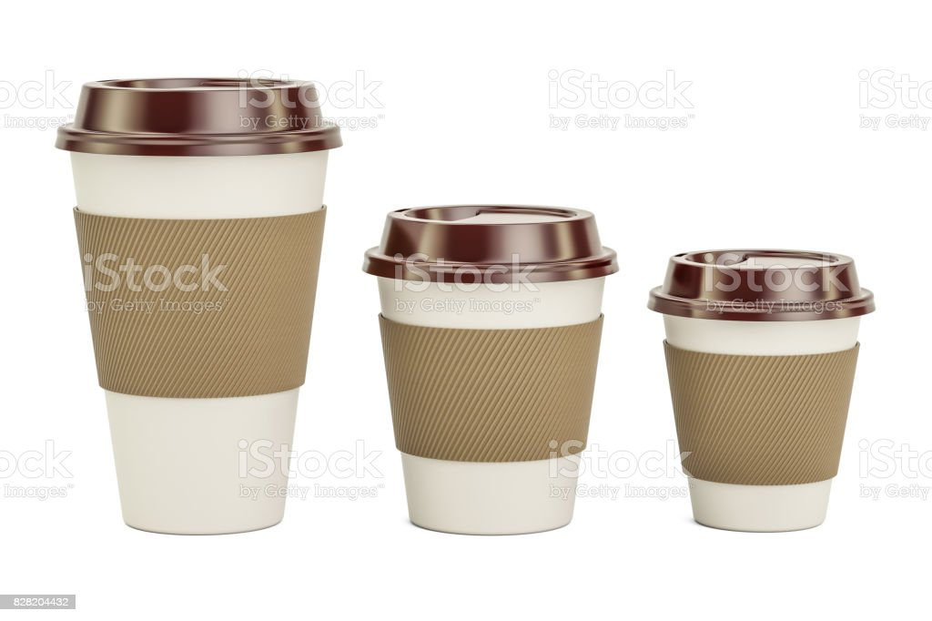 Disposable Cups Set, 3D rendering isolated on white background stock photo
