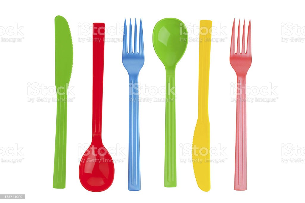 Disposable fork, spoon and knife royalty-free stock photo