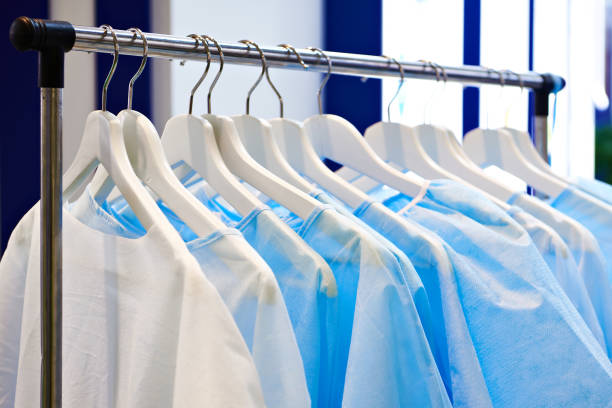 Disposable medical surgical gowns stock photo