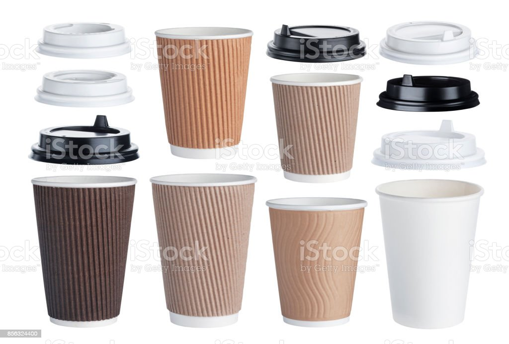 Disposable paper coffee cup isolated on white background. Collection stock photo