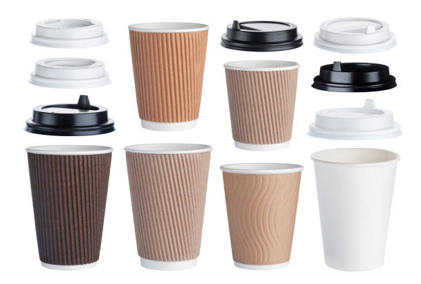 Disposable paper coffee cup isolated on white background. Collection Disposable paper coffee cup isolated on white background with clipping path. Collection disposable cup stock pictures, royalty-free photos & images