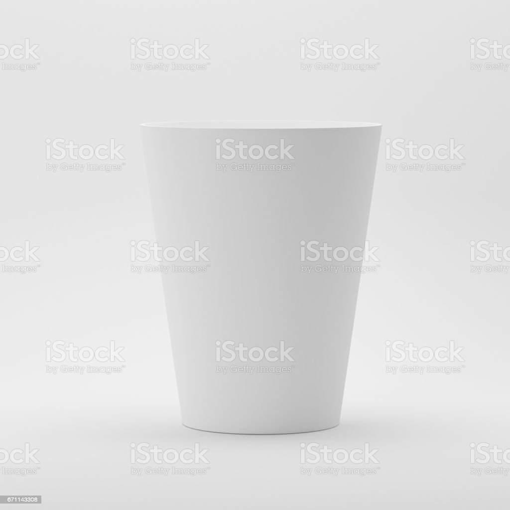 Disposable Paper Glass Mock Up On White Background Stock Photo
