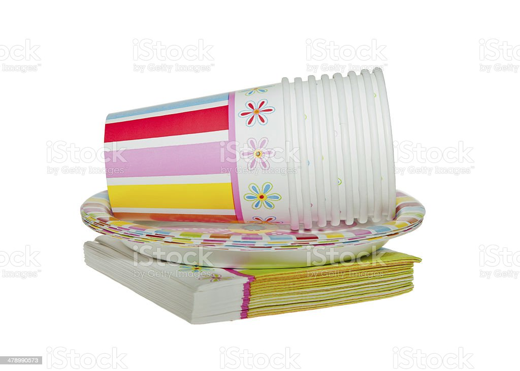 Disposable Party dishware stock photo