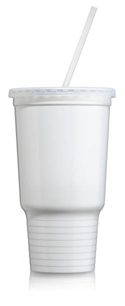 """Disposable Plastic Cold Beverage Cup with lid and straw """"Take Out Disposable Soda or Cola cup, jumbo or Super sized for soda. White Plastic Cup shot straight on with lid and straw, no logos. See more drink cups in my Drinks Lightbox"""" burwellphotography stock pictures, royalty-free photos & images"""