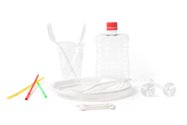 Disposable Plastic Cutlery and Parts for Single Use on White stock photo