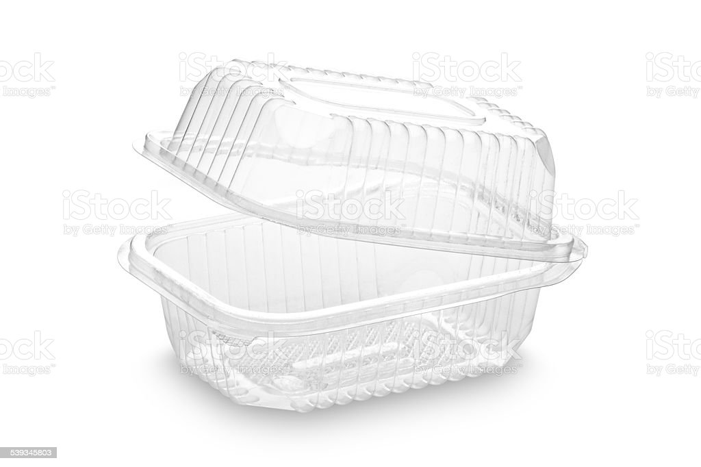 Disposable plastic food container on white backdrop stock photo