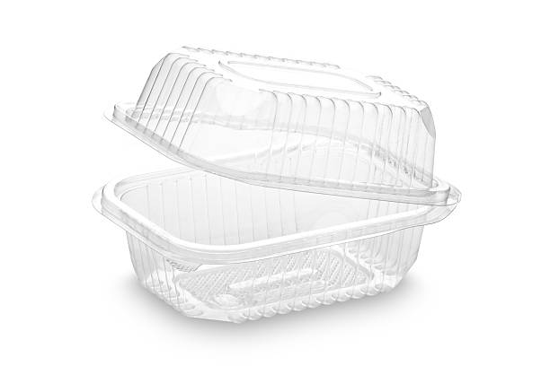 disposable plastic food container on white backdrop - container stock photos and pictures