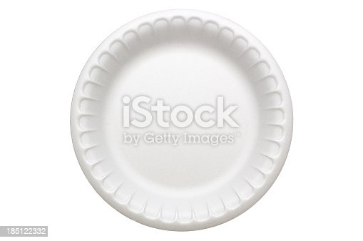 A disposable styrofoam plate, isolated on white.  Styrofoam has a strange texture when viewed up close that may be confused for noise or banding, but this is how it actually looks.