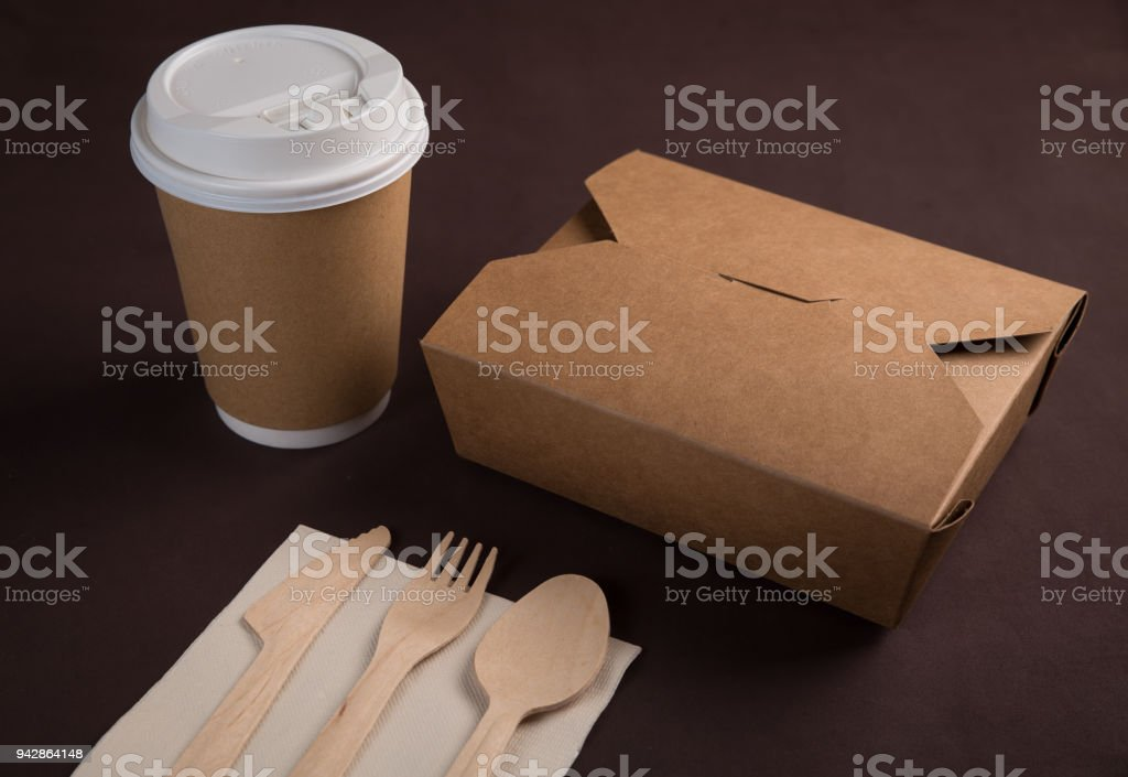 disposable table wares on table stock photo