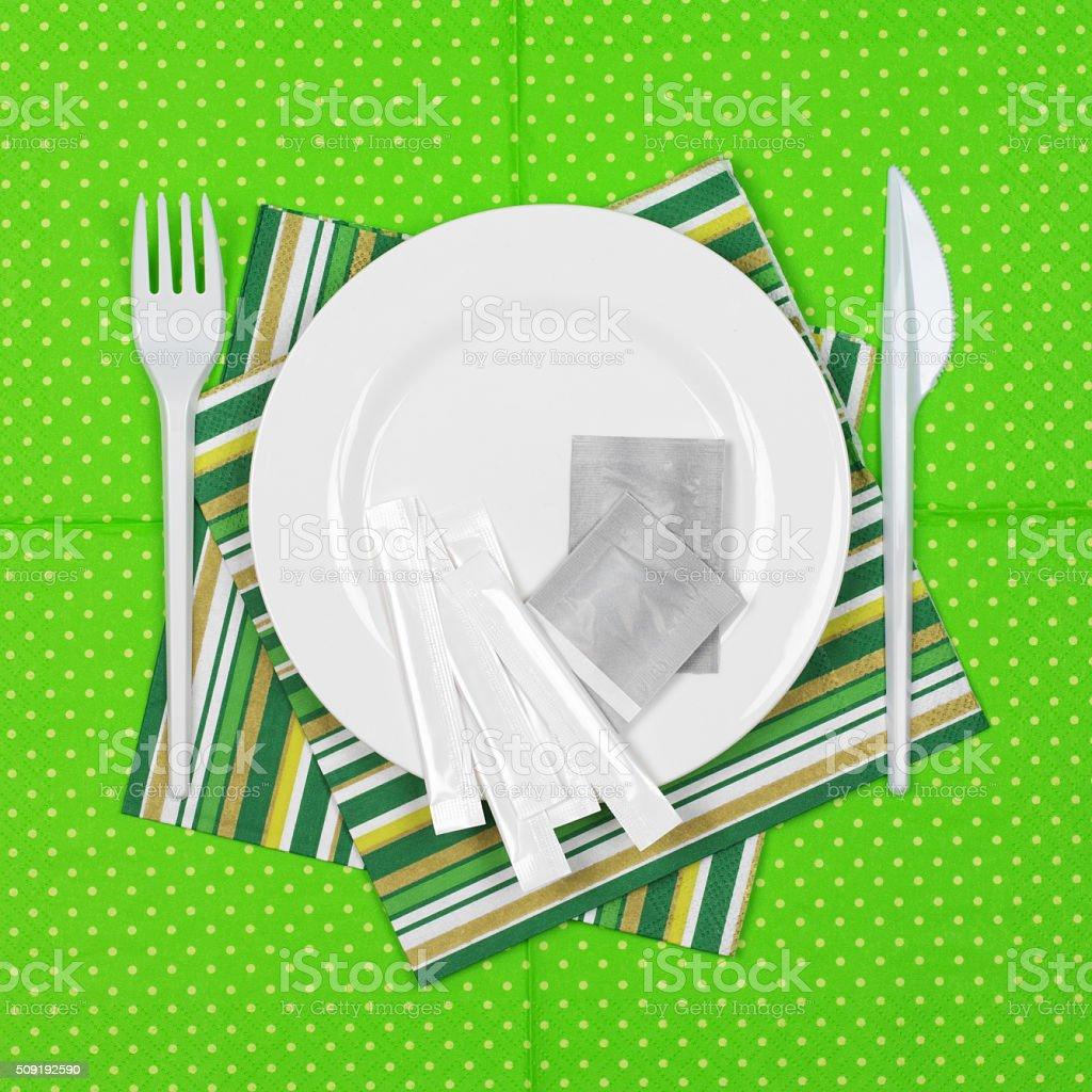 Disposable tableware set stock photo