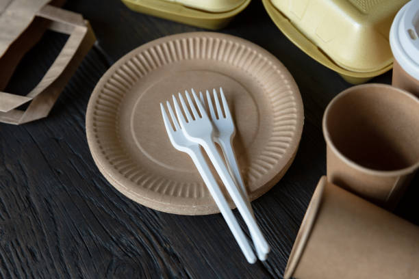 disposable takeaway food boxes and tableware on dark wooden background. nature friendly kitchen utensil. - biodegradabile foto e immagini stock