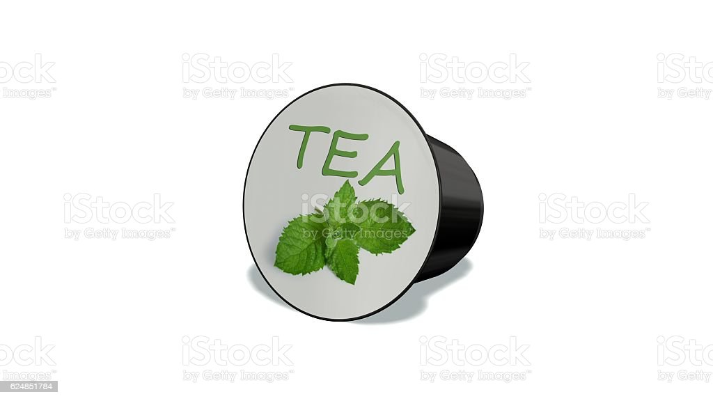 disposable tea capsule isolated on a white background stock photo