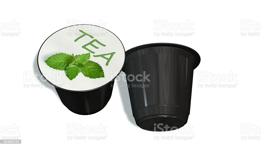 disposable tea capsules isolated on a white background stock photo