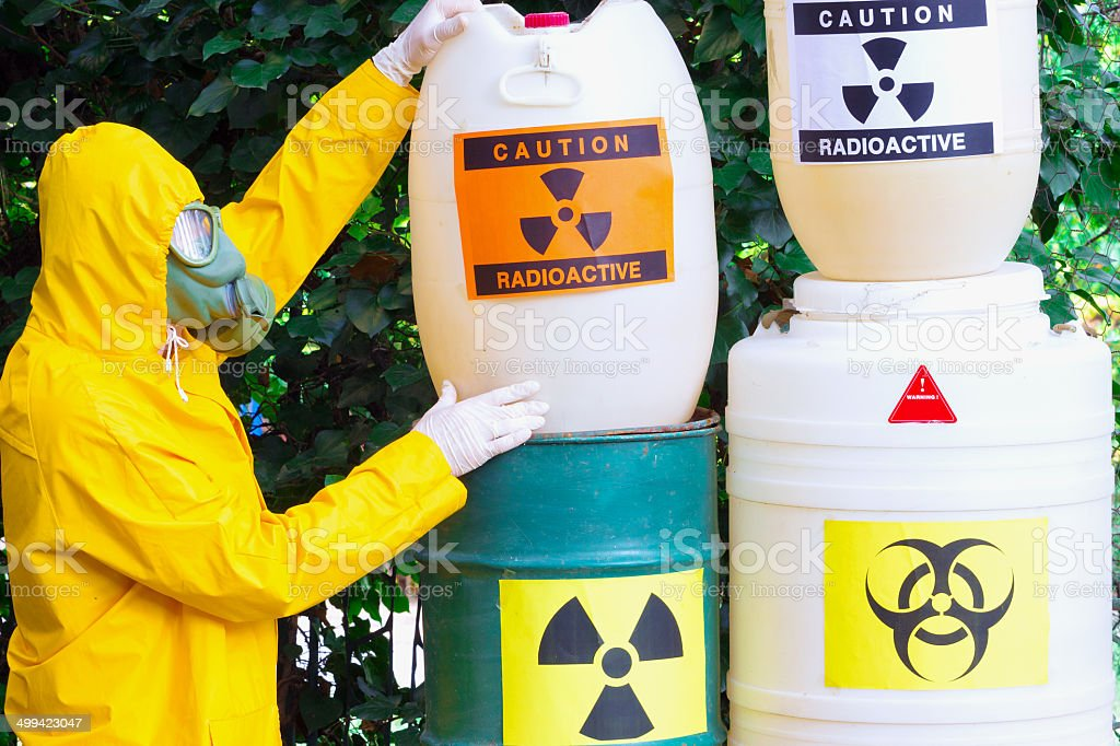 Disposal of radio active waste stock photo