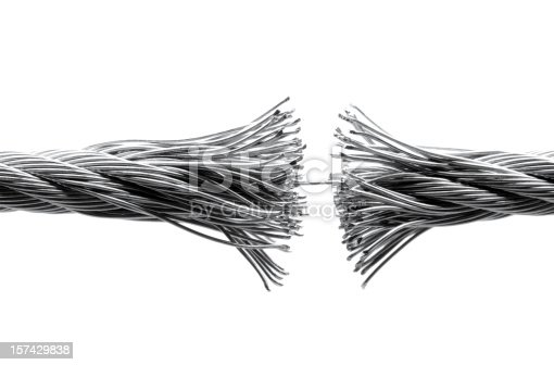 Macro close up of a disrupting wire rope isolated on white.