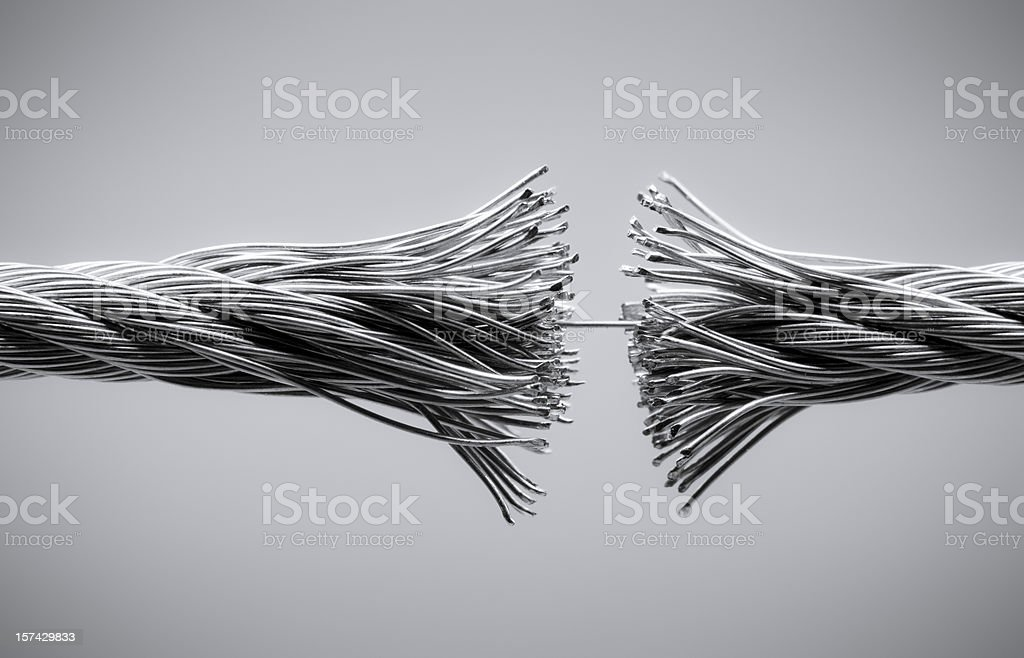 Disrupting wire rope stock photo