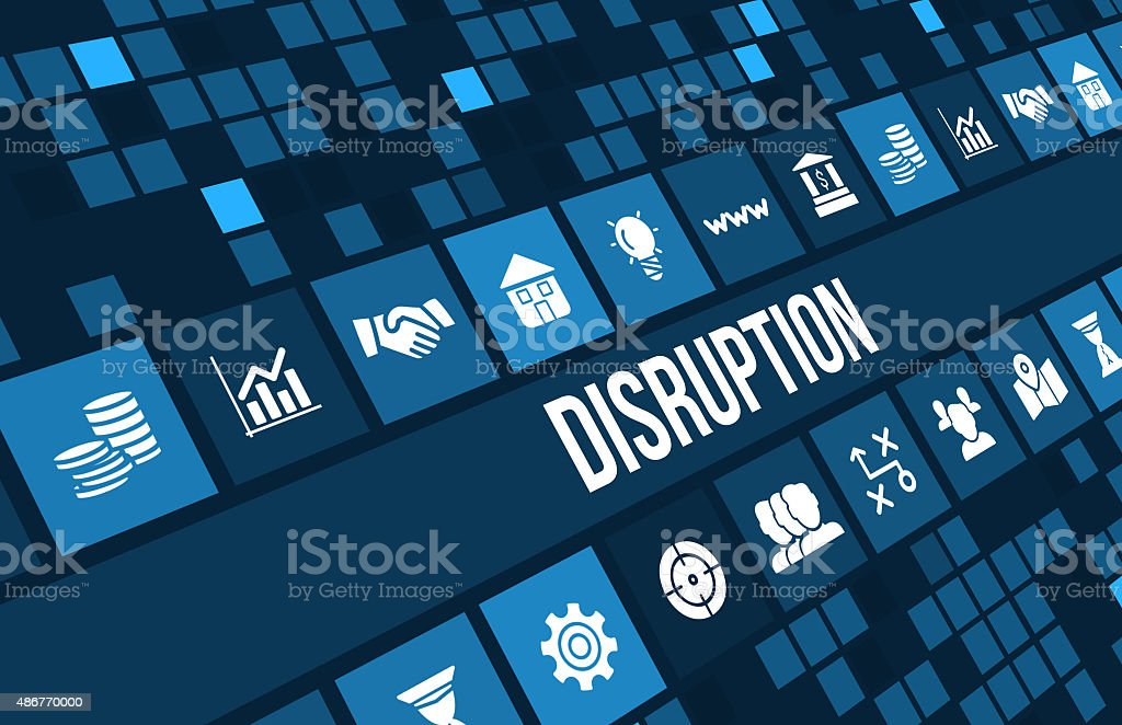 Disruption concept image with business icons and copyspace. stock photo