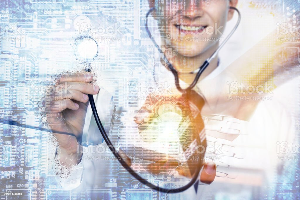 Disruption of healthcare with robot and artificial intelligence technology concept. Double exposure of male doctor and Robot holding hand with handshake and electronics circuit board. stock photo